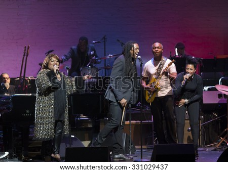 New York, NY - October 22, 2015: Sarah Dash, Nona Hendryx, Bernard Fowler perform during Great NIght in Harlem fundraising concert for Jazz Foundation of America at Apollo theater - stock photo
