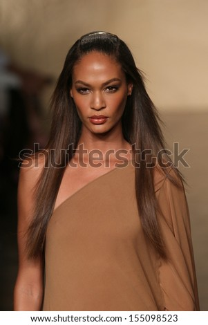 NEW YORK, NY - SEPTEMBER 09: A model walks the runway at the Donna Karan New York fashion show during Mercedes-Benz Fashion Week Spring 2014 on September 9, 2013 in New York City. - stock photo