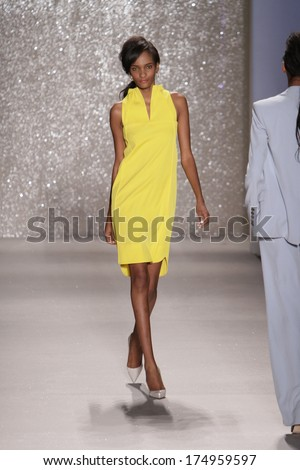 NEW YORK, NY - SEPTEMBER 09: A model walks the runway at the Pamella Roland fashion show during Mercedes-Benz Fashion Week Spring 2014 at Lincoln Center on September 9, 2013 in New York City. - stock photo