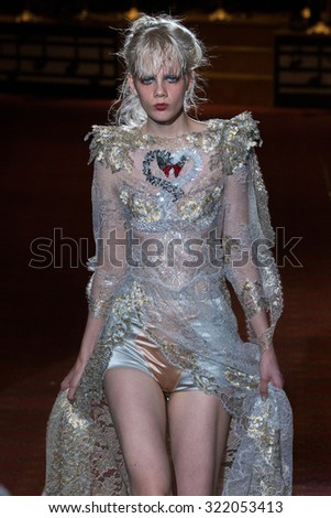 NEW YORK, NY - SEPTEMBER 17:A model walks the runway during the Marc Jacobs Runway Spring 2016 New York Fashion Week: The Shows at Ziegfeld Theater on September 17, 2015 in New York City. - stock photo