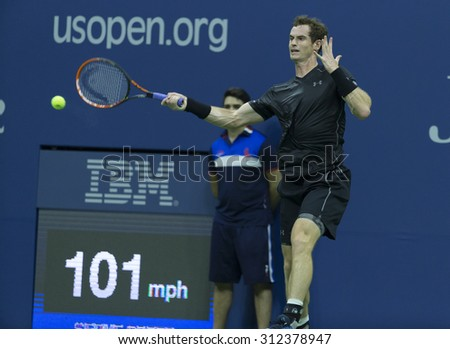 New York, NY - September 1, 2015: Andy Murray of Great Britain returns ball during 1st round match against Nick Kyrgios of Australia at US Open Championship - stock photo