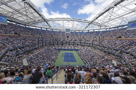 New York, NY - September 11, 2015: Atmosphere during semifinal between Serena Williams of USA & Roberta Vinci of Italy at US Open Championship on Ash stadium - stock photo