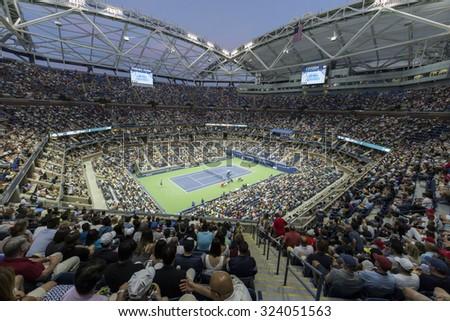 New York, NY - September 6, 2015: Atmosphere during 4th round match between Novak Djokovic of Serbia & Roberto Bautista Agut of Spain at US Open Championship on Ash stadium - stock photo