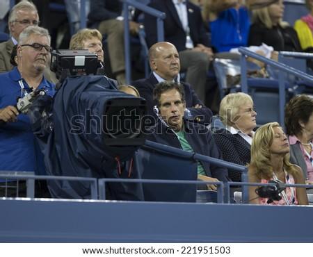 NEW YORK, NY - SEPTEMBER 3, 2014: Ben Stiller attends quarterfinal match between Andy Murray of United Kingdom & Novak Djokovic of Serbia at US Open championship in Flushing Meadows USTA Tennis Center - stock photo