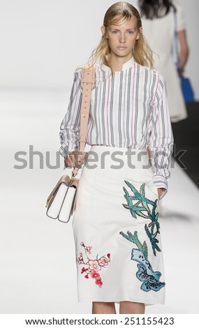 New York, NY - September 7, 2014: Charlotte Nolting walks the runway at Vivienne Tam show during Mercedes-Benz Fashion Week Spring 2015 at The Salon at Lincoln Center - stock photo
