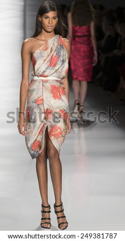 New York, NY - September 8, 2014: Cindy Bruna walks the runway at Reem Acra show during Mercedes-Benz Fashion Week Spring 2015 at The Theatre at Lincoln Center - stock photo