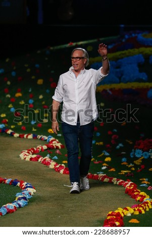 NEW YORK, NY - SEPTEMBER 08: Designer Tommy Hilfiger walks the runway at Tommy Hilfiger Women's during Mercedes-Benz Fashion Week Spring 2015 at Park Avenue Armory on September 8, 2014 in NYC. - stock photo
