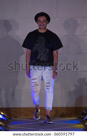 NEW YORK, NY - SEPTEMBER 14, 2015: Designer Victor de Souza walks runway for Victor de Souza SS 2016 during New York Fashion Week at 4 West 43rd Street, September 14, 2015 in NYC - stock photo