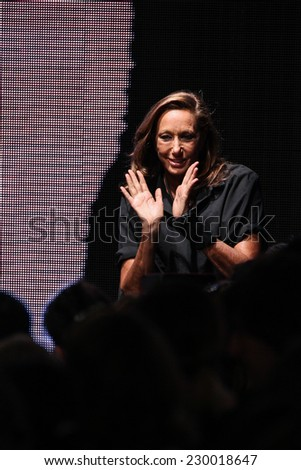 NEW YORK, NY - SEPTEMBER 08: Donna Karan greets the audience after presenting her Donna Karan New York SS2015 Collection during MBFW at 547 West 26th Street on September 8, 2014 in NYC - stock photo