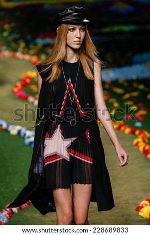 NEW YORK, NY - SEPTEMBER 08: Ella Richards walks the runway at Tommy Hilfiger Women's fashion show during Mercedes-Benz Fashion Week Spring 2015 at Park Avenue Armory on September 8, 2014 in NYC. - stock photo