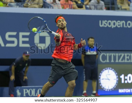 New York, NY - September 4, 2015: Fabio Fognini of Italy returns ball during 3rd round match against Rafael Nadal of Spain at US Open Championship - stock photo