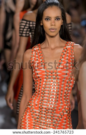 New York, NY - September 6, 2014: Grace Mahary walks the runway at Herve Leger show during Mercedes-Benz Fashion Week Spring 2015 at The Salon at Lincoln Center - stock photo