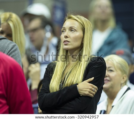 New York, NY - September 13, 2015: Jelena Djokovic attends final of US Open Championship between Novak Djokovic of Serbia & Roger Federer of Switzerland during at Ash stadium - stock photo