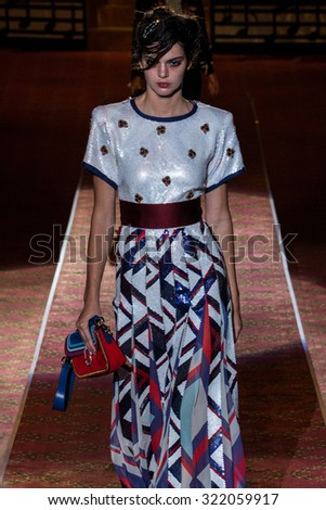 NEW YORK, NY - SEPTEMBER 17: Kendall Jenner walks the runway during the Marc Jacobs Runway Spring 2016 New York Fashion Week: The Shows at Ziegfeld Theater on September 17, 2015 in New York City. - stock photo
