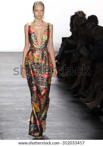 New York, NY - September 15, 2015: Laura Schellenberg walks the runway at the Dennis Basso fashion show during the Spring Summer 2016 New York Fashion Week at The Arc - Skylight Moynihan Station - stock photo