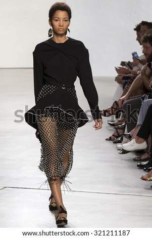 New York, NY - September 16, 2015: Lineisy Montero walks the runway at the Proenza Schouler fashion show during the Spring Summer 2016 New York Fashion Week - stock photo