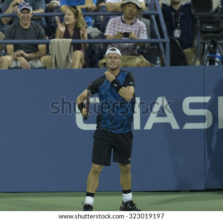 New York, NY - September 3, 2015: Lleyton Hewitt of Australia reacts during 2nd round match against Bernard Tomic of Australia at US Open championship - stock photo