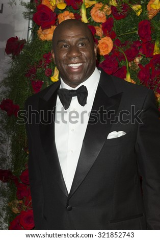 New York, NY - September 28, 2015: Magic Johnson attends American Theatre Wing 2015 gala at Plaza Hotel - stock photo
