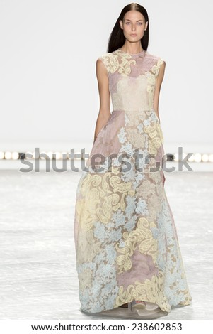 New York, NY - September 5, 2014: Meaghan DeWarreng-Waller walks the runway at Monique Lhuillier show during Mercedes-Benz Fashion Week Spring 2015 at The Theatre at Lincoln Center - stock photo