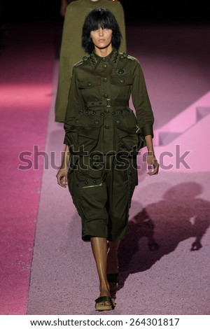 NEW YORK, NY - SEPTEMBER 11: Model Anja Rubik walk the runway at Marc Jacobs during Mercedes-Benz Fashion Week Spring 2015 at Seventh Regiment Armory on September 11, 2014 in NYC. - stock photo
