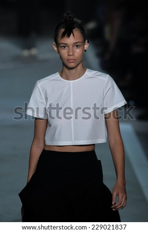 NEW YORK, NY - SEPTEMBER 09: Model Binx Walton walks the runway at the Marc By Marc Jacobs fashion show during Mercedes-Benz Fashion Week Spring 2015 at Pier 94 on September 9, 2014 in NYC. - stock photo