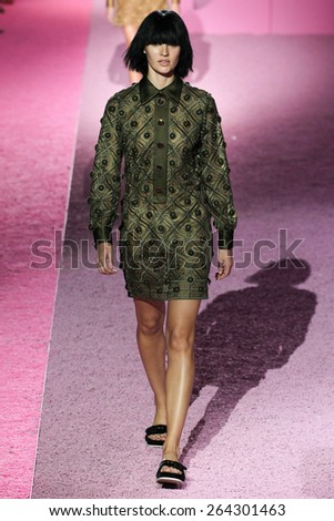 NEW YORK, NY - SEPTEMBER 11: Model Candice Swanepoel walk the runway at Marc Jacobs during Mercedes-Benz Fashion Week Spring 2015 at Seventh Regiment Armory on September 11, 2014 in NYC. - stock photo