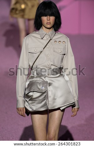 NEW YORK, NY - SEPTEMBER 11: Model Edie Campbell walk the runway at Marc Jacobs during Mercedes-Benz Fashion Week Spring 2015 at Seventh Regiment Armory on September 11, 2014 in NYC. - stock photo