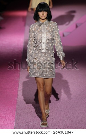 NEW YORK, NY - SEPTEMBER 11: Model Gigi Hadid walk the runway at Marc Jacobs during Mercedes-Benz Fashion Week Spring 2015 at Seventh Regiment Armory on September 11, 2014 in NYC. - stock photo