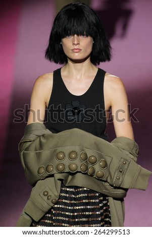 NEW YORK, NY - SEPTEMBER 11: Model Hanne Gaby Odiele walk the runway at Marc Jacobs during Mercedes-Benz Fashion Week Spring 2015 at Seventh Regiment Armory on September 11, 2014 in NYC. - stock photo