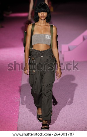 NEW YORK, NY - SEPTEMBER 11: Model Iesha Hodges walk the runway at Marc Jacobs during Mercedes-Benz Fashion Week Spring 2015 at Seventh Regiment Armory on September 11, 2014 in NYC. - stock photo