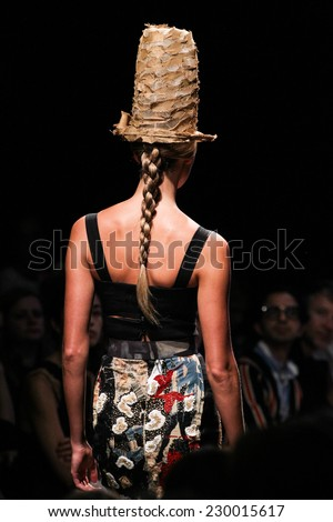 NEW YORK, NY - SEPTEMBER 08: Model Karlie Kloss walk the runway at Donna Karan New York during MBFW Spring 2015 at 547 West 26th Street on September 8, 2014 in NYC - stock photo