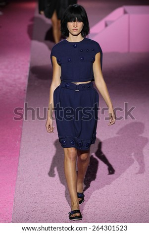 NEW YORK, NY - SEPTEMBER 11: Model Laura Julie walk the runway at Marc Jacobs during Mercedes-Benz Fashion Week Spring 2015 at Seventh Regiment Armory on September 11, 2014 in NYC. - stock photo