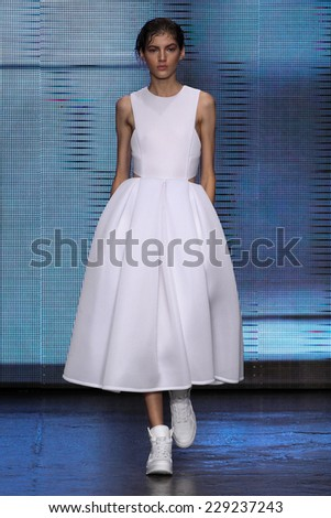 NEW YORK, NY - SEPTEMBER 07: Model Valery Kaufman walk the runway at DKNY during Mercedes-Benz Fashion Week Spring 2015 at 547 West 26th Street on September 7, 2014 in NYC. - stock photo