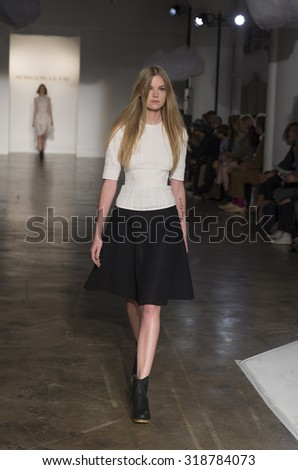 New York, NY - September 14, 2015: Model walks runway for Everything Blooming by Morgane Le Fay during New York Spring/Summer 2016 fashion week at Hudson Studios on 26th stree - stock photo