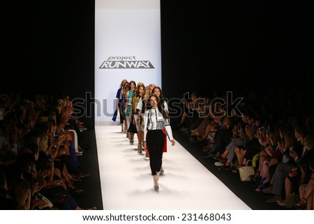 NEW YORK, NY - SEPTEMBER 05: Models walk the runway at the Project Runway (Korina Emmerich) show during Mercedes-Benz Fashion Week Spring 2015 at Lincoln Center on September 5, 2014 in NYC - stock photo
