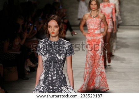 NEW YORK, NY - SEPTEMBER 06: Models walk the runway finale at the Luis Antonio fashion show during Mercedes-Benz Fashion Week Spring 2015 at Lincoln Center on September 6, 2014 in NYC - stock photo