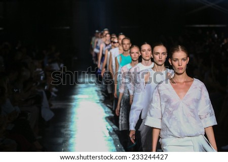 NEW YORK, NY - SEPTEMBER 06: Models walk the runway finale at the Prabal Gurung fashion show during Mercedes-Benz Fashion Week Spring 2015 on September 6, 2014 in New York City. - stock photo