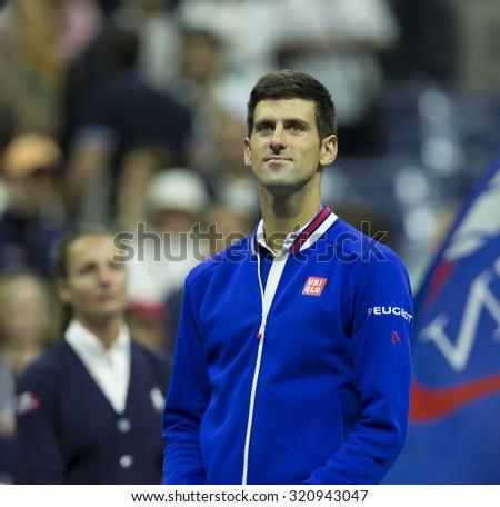New York, NY - September 13, 2015: Novak Djokovic of Serbia champion of US Open Championship against Roger Federer of Switzerland  at Ash stadium - stock photo