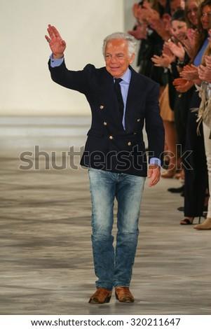 NEW YORK, NY - SEPTEMBER 17: Ralph Lauren walks the runway at Ralph Lauren Spring 2016 during New York Fashion Week: The Shows at Skylight Clarkson Sq on September 17, 2015 in New York City. - stock photo