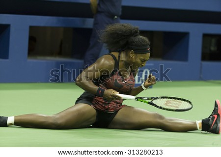 New York, NY - September 4, 2015: Serena Williams of USA reacts during 3rd round match against Bethanie Mattek-Sands of USA at US Open Championship - stock photo