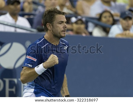 New York, NY - September 9, 2015: Stan Wawrinka of Switzerland reacts during quarterfinal against Kevin Anderson of South Africa at US Open Championship - stock photo