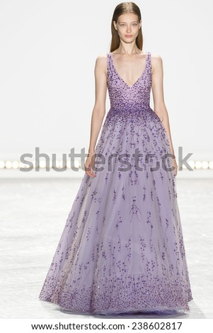 New York, NY - September 5, 2014: Tanya Katysheva walks the runway at Monique Lhuillier show during Mercedes-Benz Fashion Week Spring 2015 at The Theatre at Lincoln Center - stock photo