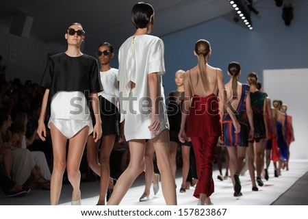 NEW YORK, NY - SEPTEMBER 11: The finale at the Osklen Spring Summer 2014 fashion show during Mercedes-Benz Fashion Week on September 11, 2013 in New York City, USA. - stock photo