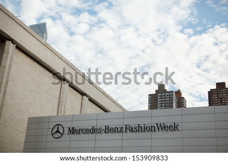 NEW YORK, NY - SEPTEMBER 7: The Mercedes-Benz Fashion Week sign, seen here at Lincoln Center on September 7, 2013 in New York City, USA.  - stock photo