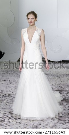 New York, NY, USA - April 17, 2015: A model walks runway for RIVINI Spring 2016 Bridal Collection at The Park Hyatt Hotel during New York Bridal week, Manhattan - stock photo