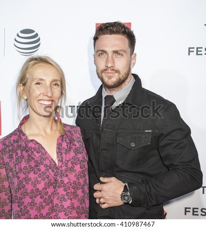 New York, NY, USA - April 21, 2016: Actor Aaron Taylor-Johnson and Sam Taylor-Johnson attend the 'Taxi Driver' 40th Anniversary Celebration during 2016 Tribeca Film Festival at The Beacon Theatre, NYC - stock photo