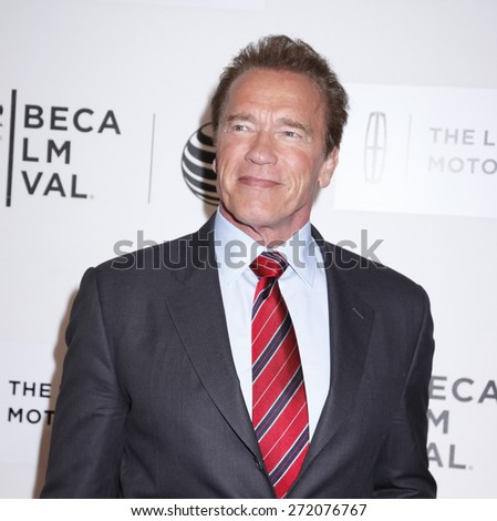 New York, NY, USA - April 22, 2015: Actor Arnold Schwarzenegger attends the World premiere Narrative of Maggie during the 2015 Tribeca Film Festival at BMCC Tribeca PAC, Manhattan - stock photo