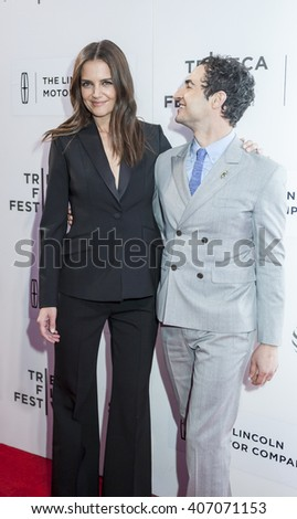 New York, NY, USA - April 15, 2016: Actress Katie Holmes and Zac Posen attend the 'All We Had' premiere during the 2016 Tribeca Film Festivalat at the John Zuccotti Theater at BMCC Tribeca PAC - stock photo