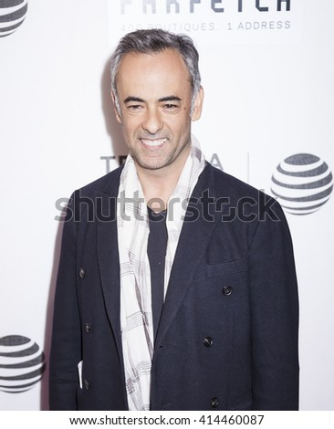 New York, NY, USA - April 13, 2016: Designer Francisco Costa attends 2016 Tribeca Film Festival opening night world premiere of 'The First Monday In May' at John Zuccotti Theater at BMCC Tribeca PAC - stock photo