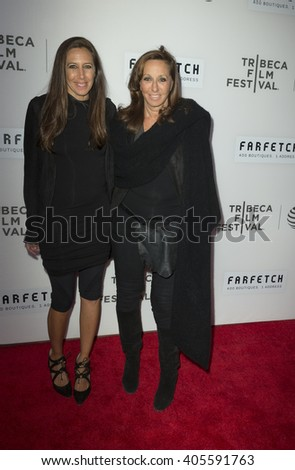 New York, NY USA - April 13, 2016: Gabby Karan, Donna Karan attend opening night of TFF world premiere The First Monday in May at BMCC - stock photo
